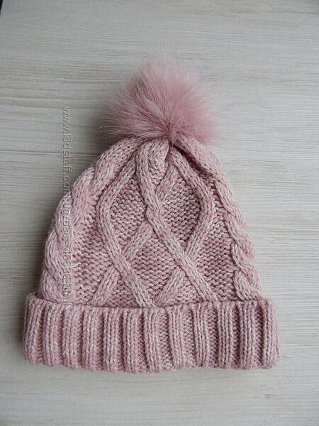 Вязаная зимняя шапка для девочки с отворотом и помпоном primark