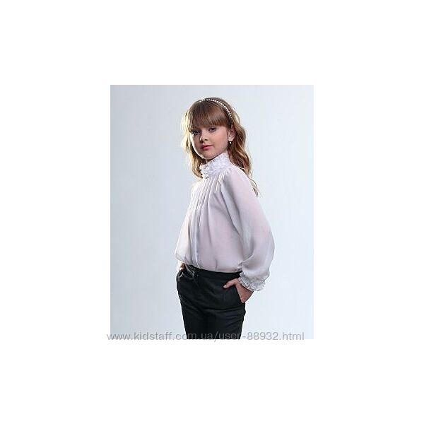 Блуза школьная на р.140 с длинным рукавом Лукас шифон