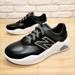 Кожаные кроссовки BR64 черный размеры 32-40