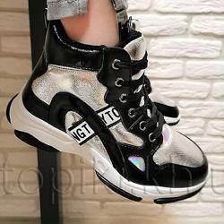 Деми ботинки Weestep 6242BK серебро 32-37