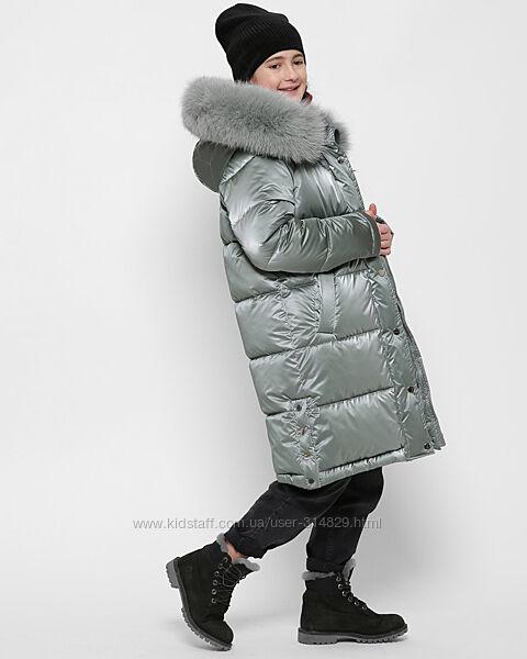 Зимнее пальто лак с натуральным мехом X-Woyz DT-8323 110-164 р.