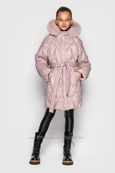 Шикарное зимняя куртка пальто для девочки Джун от Cvetkov 128-146 р