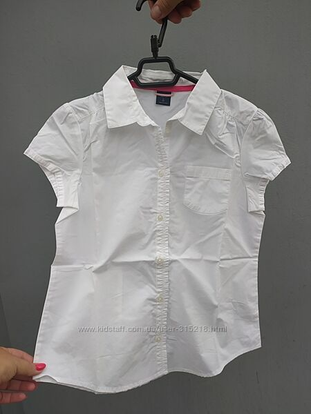 Белая блуза с коротким рукавом GAP на девочку ростом 148-153 см, р-р L plus