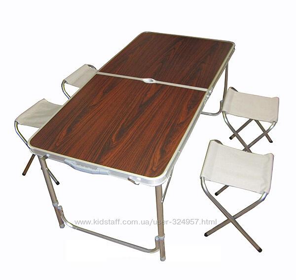 Столик раскладной для пикника, кемпинга туризма сада, 4 стула, складывается
