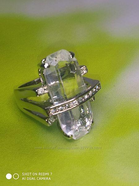 Кольцо с большим прозрачным камнем, 17р, арт.0105004