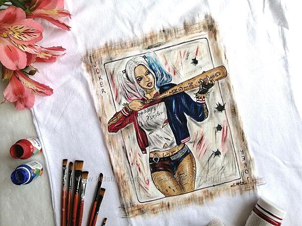 Футболка с ручной росписью для крутой бунтарки Harley Quinn