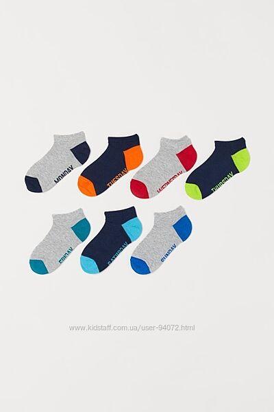 H&M Комплект из 7 пар коротких носочков размеры 25-33