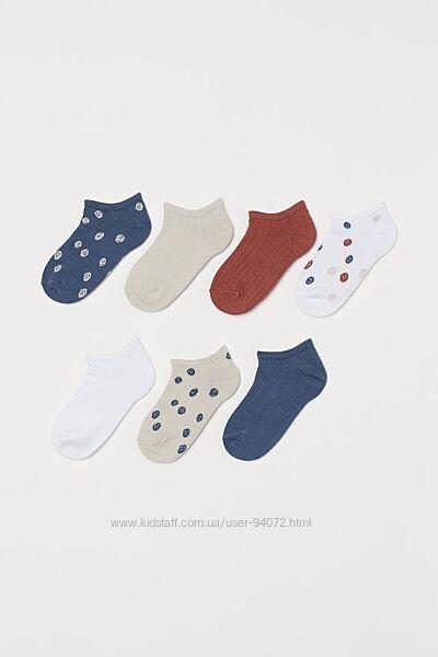 H&M Комплект из 7 пар коротких носков размеры 25-27 и 31-33