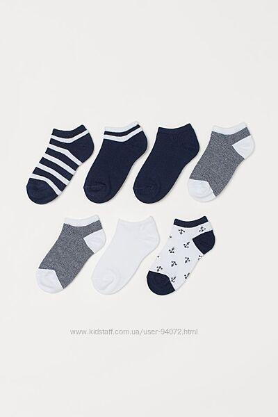 H&M Комплект из 7 пар коротких носочков размер 34-42