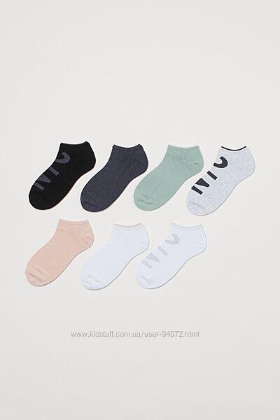 H&M Комплект из 7 пар коротких носочков размер 31-39