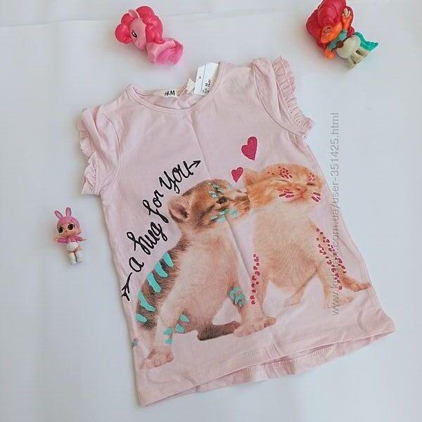 розовая футболка с котятами h&m на 1-2 года, 92 см