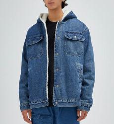 PULL&BEAR джинсовая куртка шерпа утеплённая Испания р48-50-52-54-56-M-L-XL