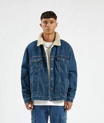 PULL&BEAR джинсовая куртка шерпа утеплённая Испания р.52-54-L