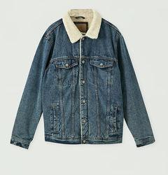 PULL&BEAR джинсовая куртка шерпа утеплённая Испания р.52-54-XL
