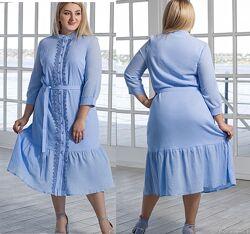 Летнее платье на пуговицах, размеры 44-58