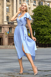 Пышное летнее платье на запах, размеры 44-50