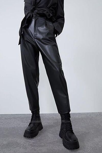 Кожаные штаны от zara с супервысокой посадкой