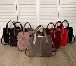 Шикарные комбинированные сумки - много цветов , замшаэкокожа
