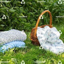 Детский вязаный плюшевый плед одеяло Lukoshkino  ручная работа  размеры