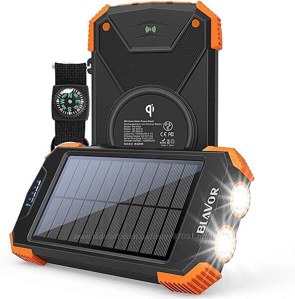 Солнечный повербанк BLAVOR Outland 10000 mAh с беспроводной зарядкой