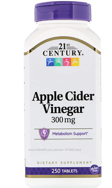 21st Century, яблочный уксус, 300 мг, 250 таблеток Произведено 21 Сенчури