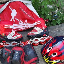 Хит продаж Наборы ролики Maraton с шлемом и защитой в сумке