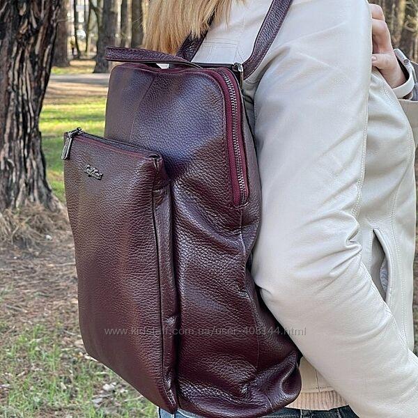 Рюкзак женский кожаный Tony Bellucci 0341 бордовый
