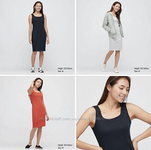 Стильное, базовое платье в рубчик, UNIQLO