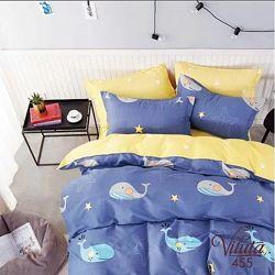 Детское постельное в кроватку сатин простынь на резинке