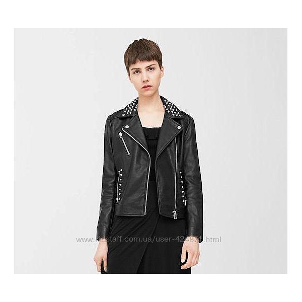 кожаная женская косуха, куртка с шипами, заклепками xs s  mango оригинал