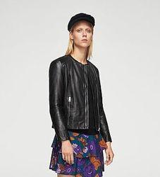 кожаная черная женская куртка xxs-xs mango оригинал