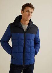 мужская синяя демисезонная куртка с капюшоном xl-xxl mango