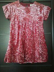 велюровое розовое платье для девочки рост 128, 8 лет zara оригинал