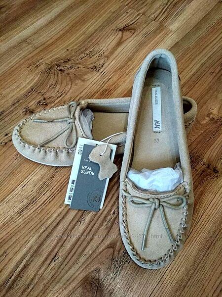 замшевые бежевые мокасины, туфли для девочки 32-33 размер H&M оригинал