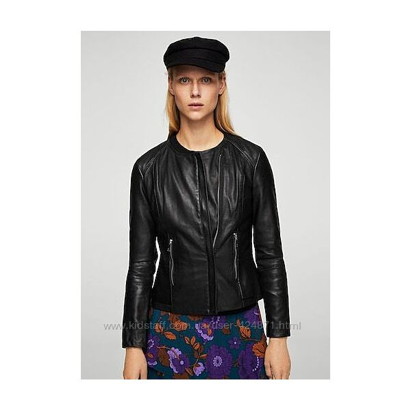 черная кожаная женская куртка xs-s mango оригинал