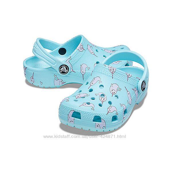 детские голубые кроксы, клоги унисекс  J3 EUR 34-35 crocs оригинал