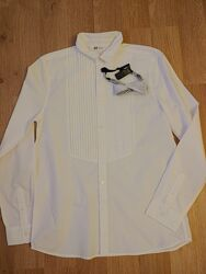 Нарядная белая рубашка с бабочкой Н&М для мальчика 170см
