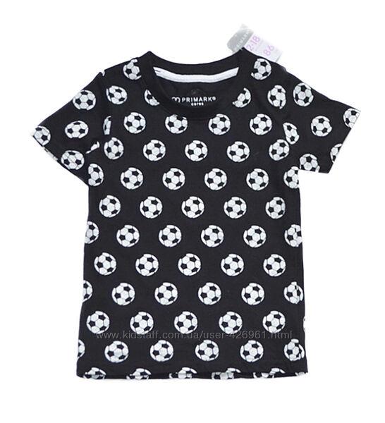 Черная футболка primark на мальчика 12-18 мес