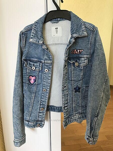 Джинсовая нарядная куртка для девочки H&M