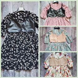 Платье с цветочным принтом и жилеткой из эко-кожи для девочек/подростков