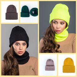 Демисезонный комплект шапка и хомут в рубчик для детей и взрослых