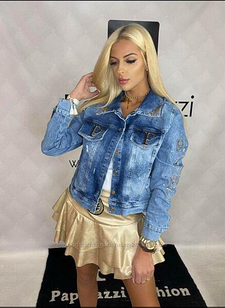 Джинсовая куртка Люкс качество Paparazzi размер универсальный на ОГ до 106