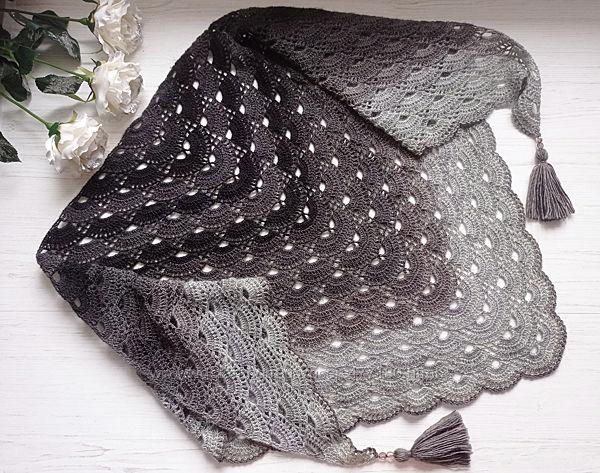 Бактус-шаль 50 оттенков серого