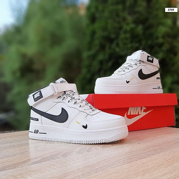 Зимние кроссовки на меху Nike Air Force 1 JD , белые, мех