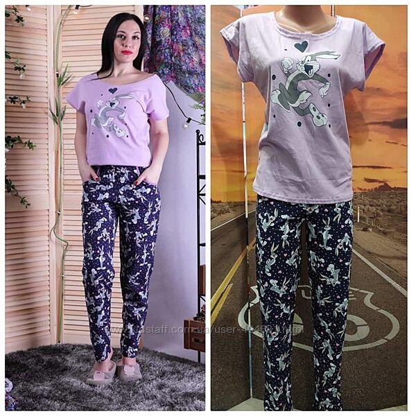 Пижама женская брюки плюс футболка кулир
