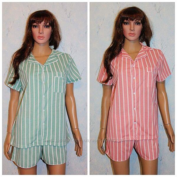 Пижама женская рубашка на кнопке с шортами хлопок
