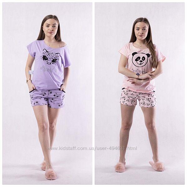 Женская летняя пижама шорты и футболка фуликра