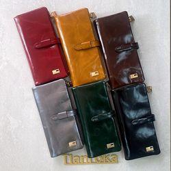 Кожаный кошелек JCCS с отделом для мобильного. Много цветов.