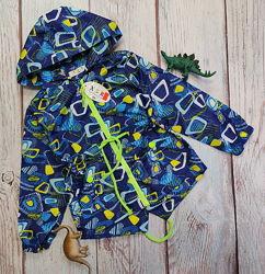 Демисезонная детская куртка ветровка для мальчика синяя абстракция 2-7 лет