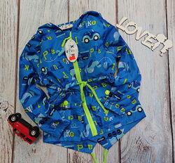 Демисезонная детская куртка ветровка для мальчика синяя машина 2-7 лет 2036